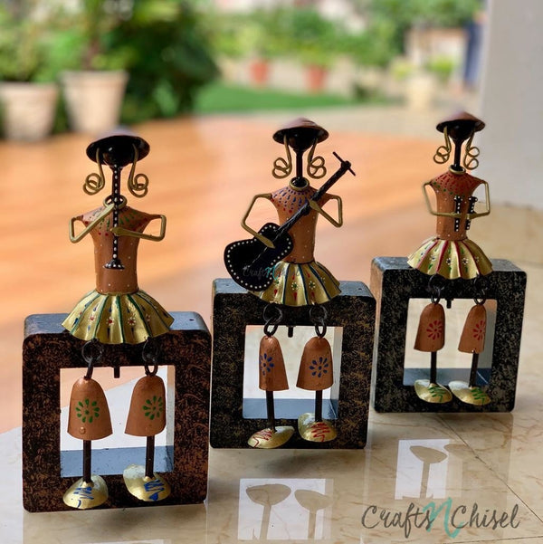 Metallic Musician Decorative (set of 3) - Table Decor / Wall Hanging-Crafts N Chisel India - Indian home decor - India