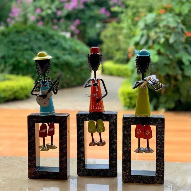 Colorful Metallic Musician Decorative (set of 3) - Table Decor / Wall Hanging-Crafts N Chisel India - Indian home decor - India