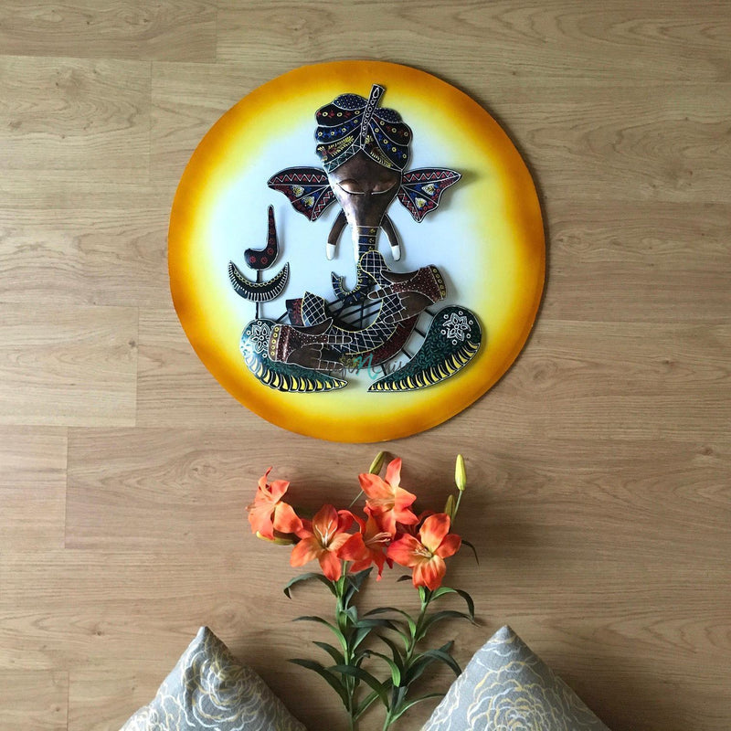 Musician Ganesh Wall Decor - Crafts N Chisel - Indian home decor - Online USA