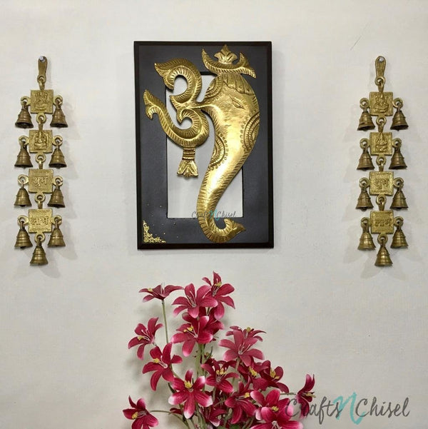 Om Ganesha Wall Hanging with Shubh Labh Laxmi Ganesh Brass Bell (Set of 3)-Crafts N Chisel India - Indian home decor - India