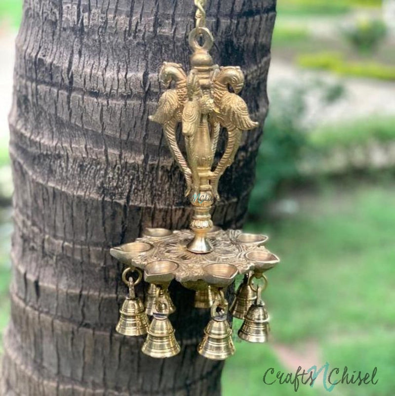 Peacock Hanging Diya Bell - Brass Wall Hanging - Decorative and Religious-Crafts N Chisel India - Indian home decor - India