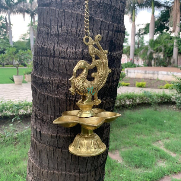 Peacock Hanging Diya - Brass Wall Hanging - Decorative and Religious-Crafts N Chisel India - Indian home decor - India