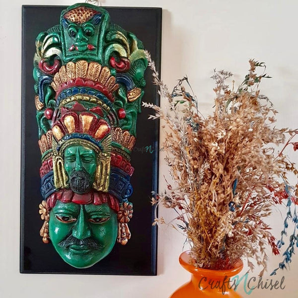 Wooden Face Mask Wall Hanging - Wall Decor-Crafts N Chisel India - Indian home decor - India