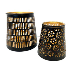 Metallic Candle Holder (Set of 2)-Crafts N Chisel India - Indian home decor - India