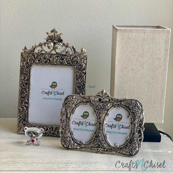 Silver Plated Antique Photo Frame (Set of 2) - Home Decor - Decorative Gift item-Crafts N Chisel India - Indian home decor - India
