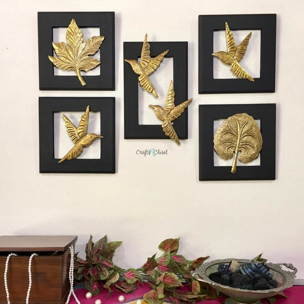Flying Bird With Leaf Wall Hanging (Set of 5)-Crafts N Chisel India - Indian home decor - India