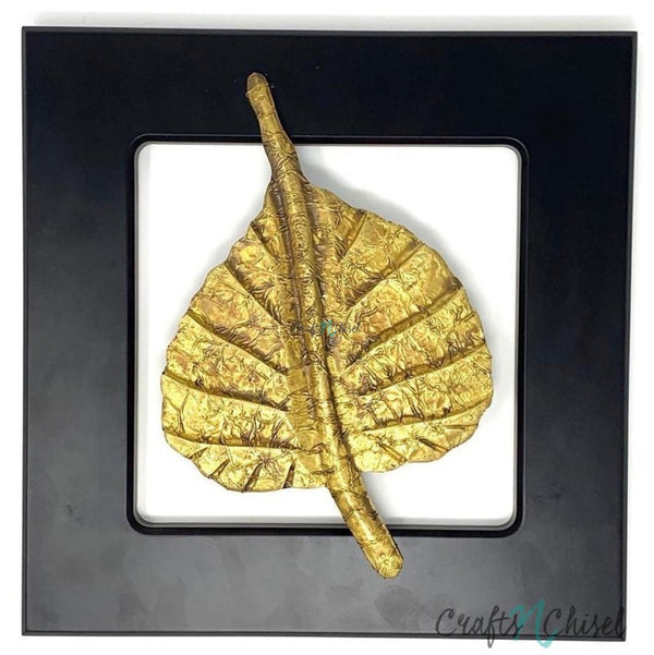 Solid Brass Bodhi leaf Wall Decor - Black Wooden frame - Wall hanging-Crafts N Chisel India - Indian home decor - India
