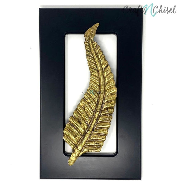 Brass Long Leaf Wall Decor - Black Wooden Frame - Wall hanging-Crafts N Chisel India - Indian home decor - India