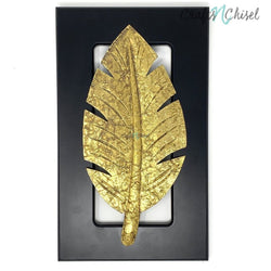 Brass leaf Wall Decor - Black Wooden frame - Wall hanging-Crafts N Chisel India - Indian home decor - India