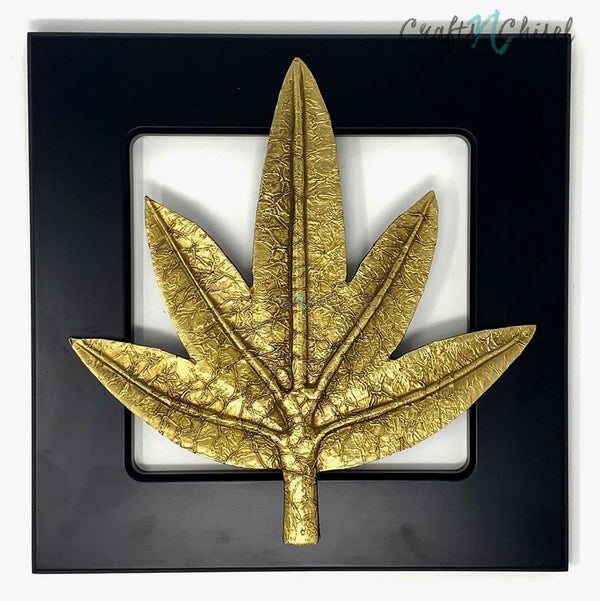 Brass leaf Wall Decor - Wooden Frame - Wall hanging-Crafts N Chisel India - Indian home decor - India