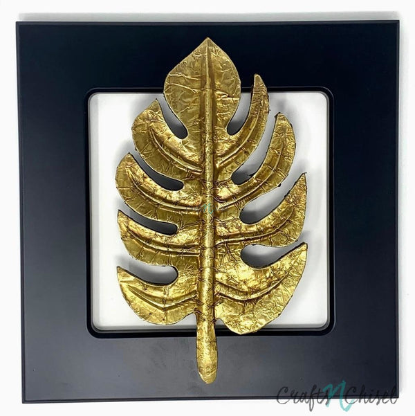 Solid Monstera Brass leaf Wall Decor - Black Wooden Frame-Crafts N Chisel India - Indian home decor - India