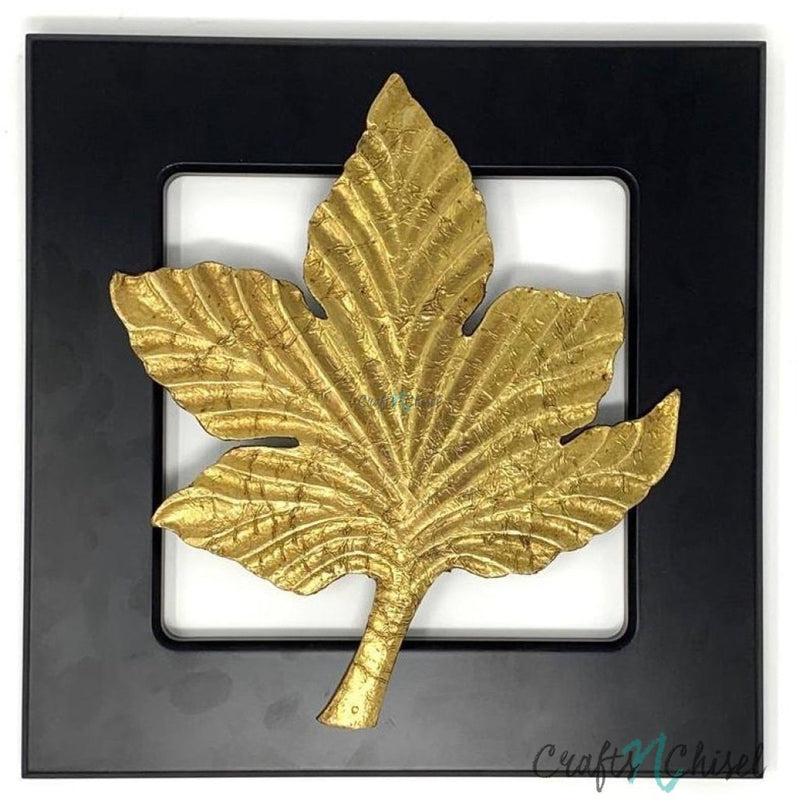 Solid Brass Leaf Wall Decor - Black Wooden Frame - Wall hanging-Crafts N Chisel India - Indian home decor - India