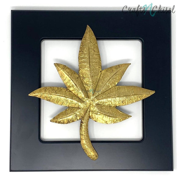 Brass leaf motif - Wooden Frame Wall Hanging - Wall decor-Crafts N Chisel India - Indian home decor - India