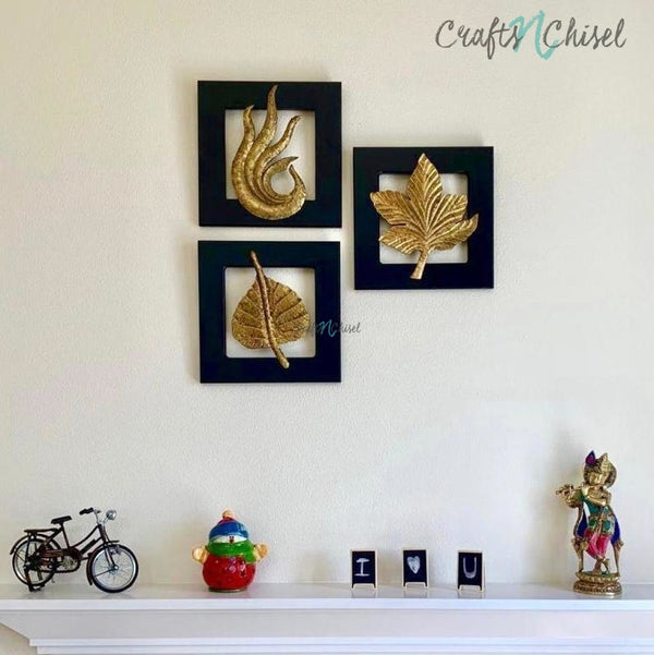 Brass Leaf Wall Hanging (Set of 3)-Crafts N Chisel India - Indian home decor - India