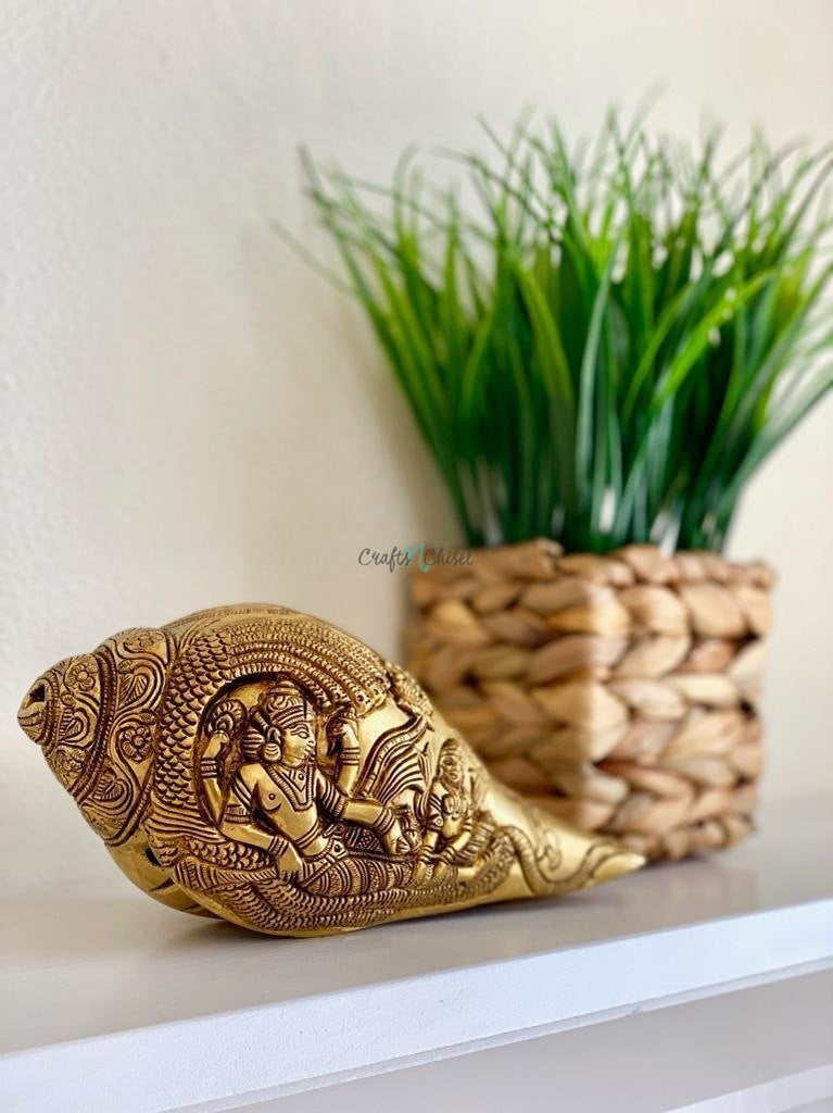 "Brass Conch (Shank) 8"" - Lord Vishnu Sheshnag Carving - Decorative Home Decor-Crafts N Chisel India - Indian home decor - India"