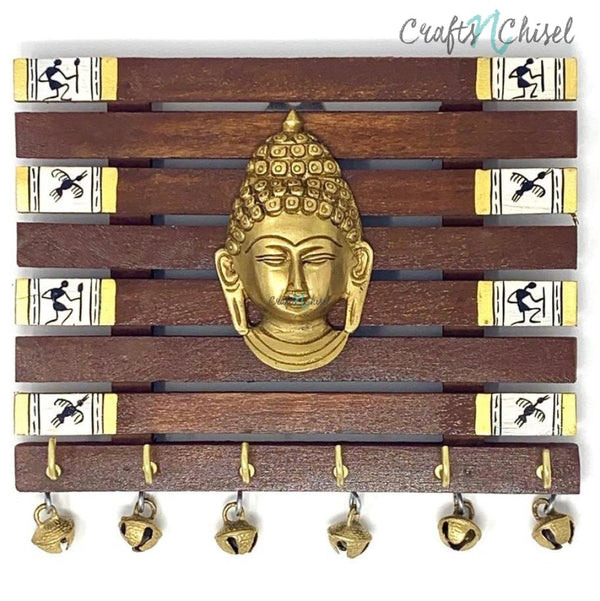 Brass Buddha & Warli Hand-Painted Key Holder On Wood (6 Hooks) - Wall Decor-Crafts N Chisel India - Indian home decor - India