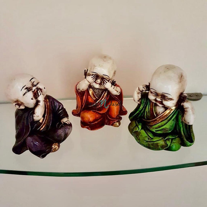 Little Monk Buddha (Set of 3) - Religious Idol - Decorative Collectible-Crafts N Chisel India - Indian home decor - India