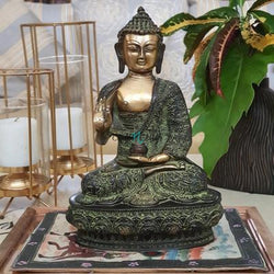 Designer Lord Buddha Idol - Brass Art - Religious - Decorative-Crafts N Chisel India - Indian home decor - India