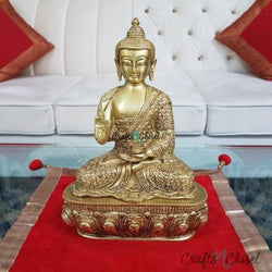 Lord Buddha Idol - Brass Art - Religious - Decorative-Crafts N Chisel India - Indian home decor - India