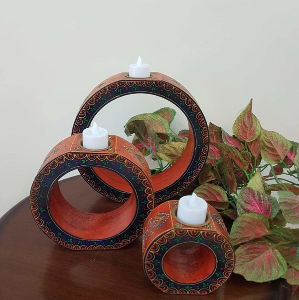 Rajasthani Wooden Candle Holder (Set of 3)-Crafts N Chisel India - Indian home decor - India