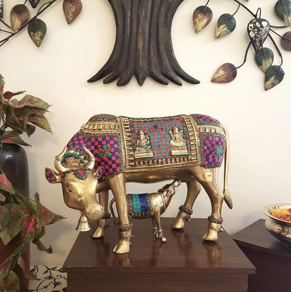 Cow and Calf Set - Brass Statue Handcrafted turquoise Inlay - Decorative Figurine-Crafts N Chisel India - Indian home decor - India
