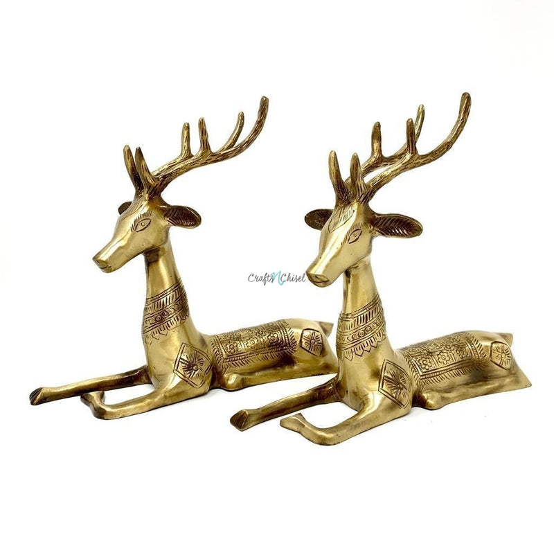 Handcrafted Brass Deer (set of 2)-Crafts N Chisel India - Indian home decor - India