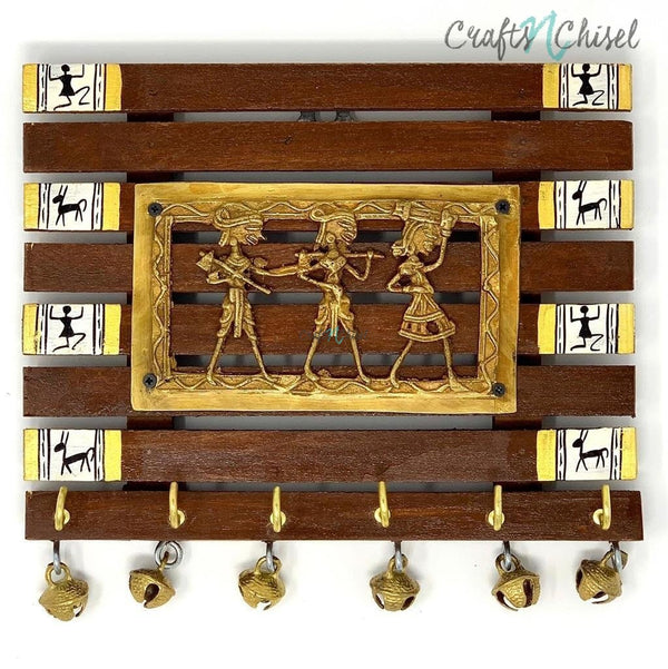 Dhokra & Warli Hand-Painted Key Holder On Wood (6 Hooks) - Wall Decor-Crafts N Chisel India - Indian home decor - India