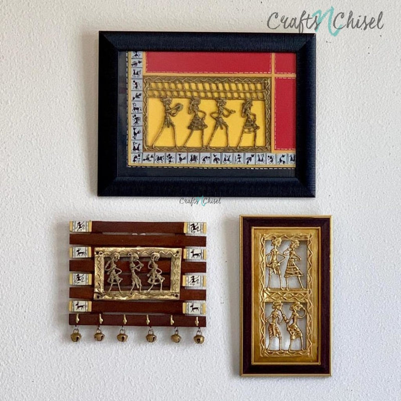 Dhokra Warli Wall Hanging & Key Holder (set of 3) - Wall Decor - Home Decor-Crafts N Chisel India - Indian home decor - India