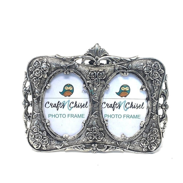 Silver Plated Antique Dual Photo Frame - Home Decor - Decorative Gift item-Crafts N Chisel India - Indian home decor - India