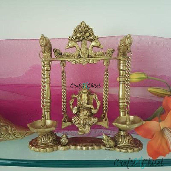 Lord Ganesh Swing Brass Idol - Diya Lamp - Decorative Figurine-Crafts N Chisel India - Indian home decor - India
