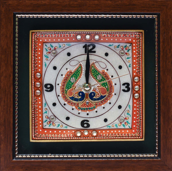 "Gold leaf 9"" Marble Clock - Meenakari Stone Art Jewelry Painting - Home Decor-Crafts N Chisel India - Indian home decor - India"