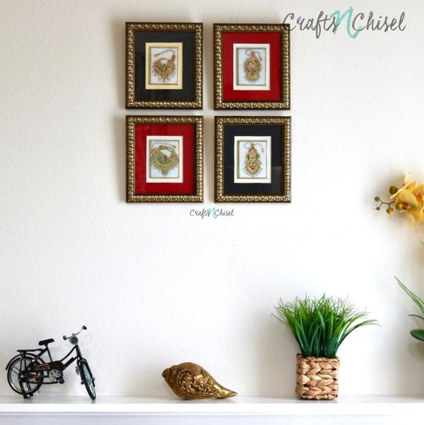 Handcrafted Jewelry Painting (Set of 4) - Wall Decor - 22K Gold Leaf Meenakari Marble Art-Crafts N Chisel India - Indian home decor - India