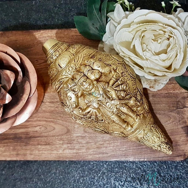 "Lord Hanuman Brass Conch (Shank) 9"" - Decorative Home Decor-Crafts N Chisel India - Indian home decor - India"