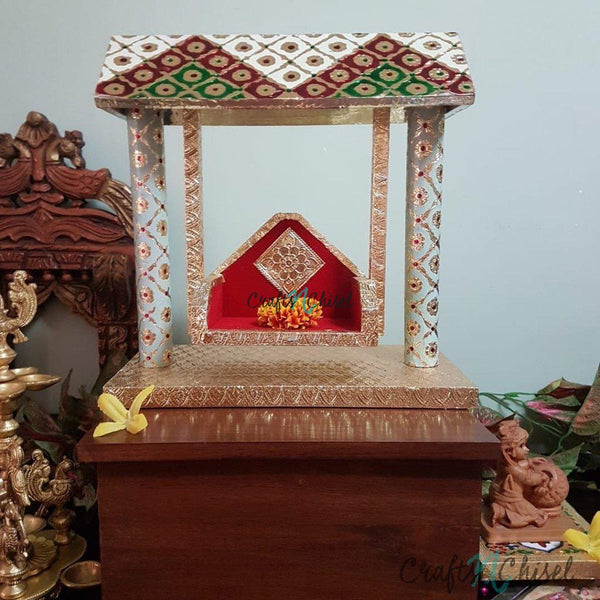 Wooden Swing Jhula For Baby Krishna Idol - Decorative-Crafts N Chisel India - Indian home decor - India