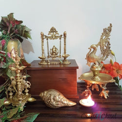 Lord Ganesh Swing, Peacock Diya & Ganesha Shank - Brass Decorative Figurine-Crafts N Chisel India - Indian home decor - India