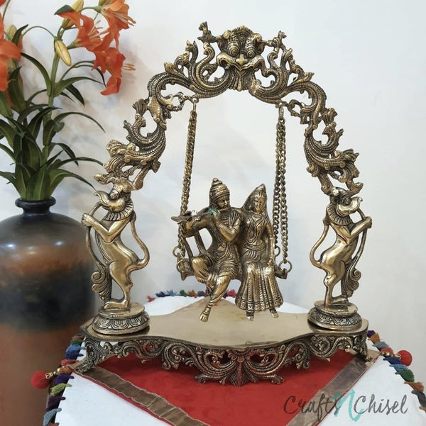 Radha Krishna Swing Decorative Brass Idol and Statue-Crafts N Chisel India - Indian home decor - India