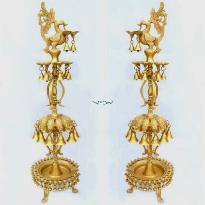 "34"" Handmade Standing Brass Diya Lamp : Dancing Peacock (Set of 2)-Crafts N Chisel India - Indian home decor - India"