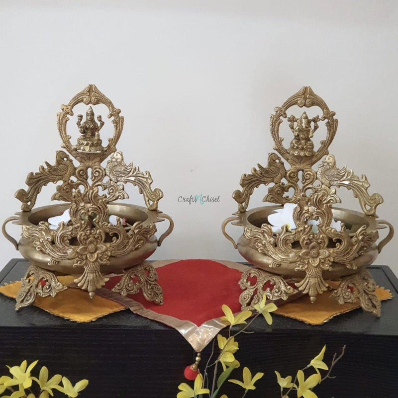 Lakshmi Ganesha Decorative Brass Urli (Set of 2)-Crafts N Chisel India - Indian home decor - India