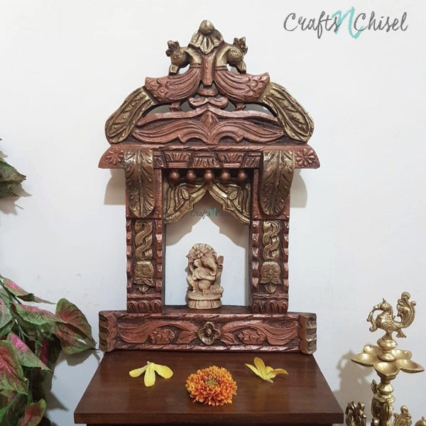 "18"" Peacock Decorative Wooden Jharoka - Wall Decor-Crafts N Chisel India - Indian home decor - India"