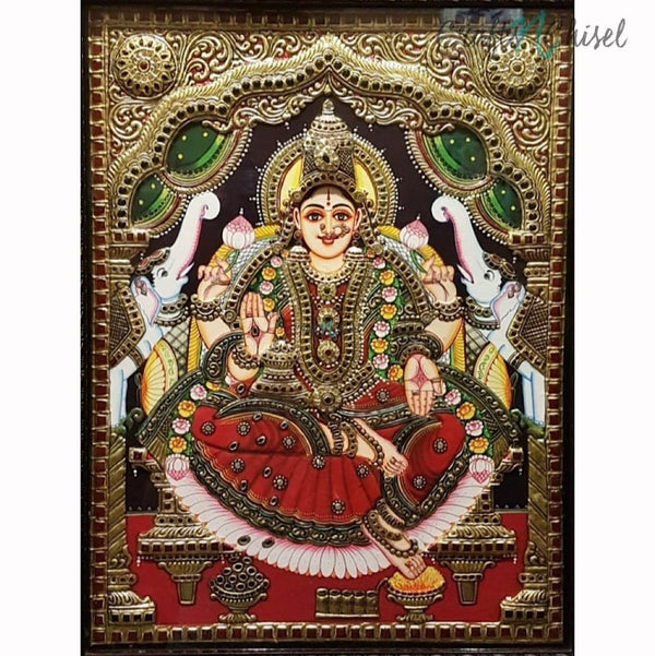 Goddess Laxmi Tanjore Painting - Traditional Wall Art-Crafts N Chisel India - Indian home decor - India