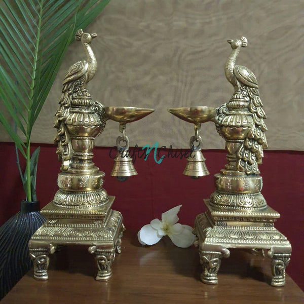 Sitting Peacock Diya & Bell (Set of 2) - Handmade Brass lamp - Decorative-Crafts N Chisel India - Indian home decor - India