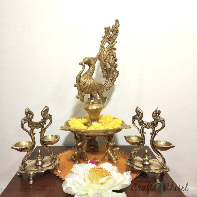 Handmade Brass Diya Lamp : Dancing Peacock & Twin Peacock (Set of 3)-Crafts N Chisel India - Indian home decor - India