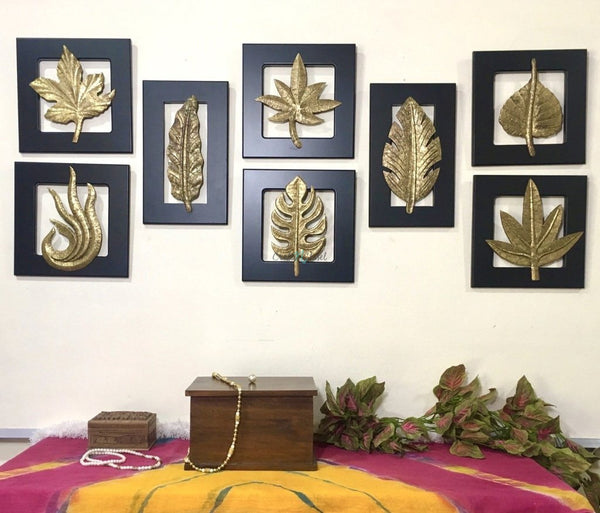 Brass Leaf Wall Hanging (Set of 8)-Crafts N Chisel India - Indian home decor - India