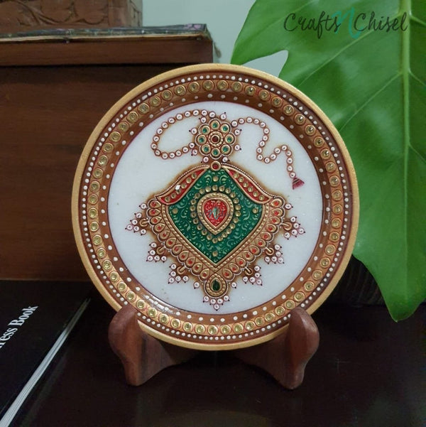 "Gold Leaf Meenakari Jewelry Painting - Decorative Round Marble 6"" Plate-Crafts N Chisel India - Indian home decor - India"