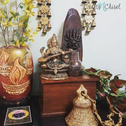 Goddess Saraswati, Ganesha tea light, Dashavtar Vishnu bell and Shubh labh hanging Bell Set-Crafts N Chisel India - Indian home decor - India