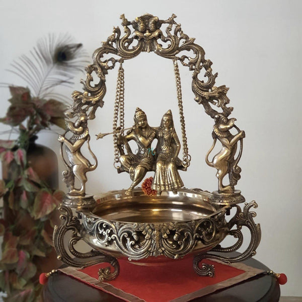 Radha Krishna Swing Decorative Brass Urli-Crafts N Chisel India - Indian home decor - India