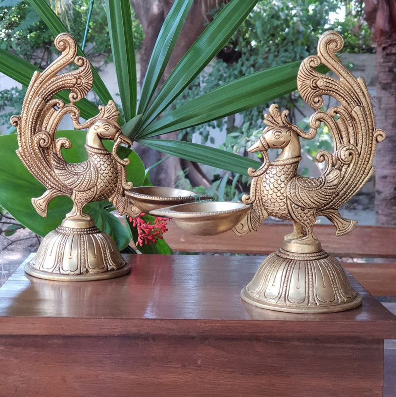 Dancing Peacock Diya (Set of 2) - Handmade Brass lamp - Decorative-Crafts N Chisel India - Indian home decor - India