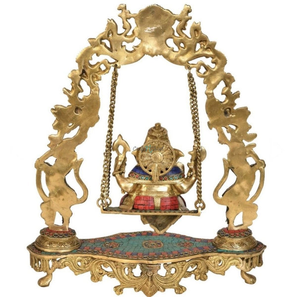 Ganesha Swing Yali Decorative Brass Idol and Statue-Crafts N Chisel India - Indian home decor - India