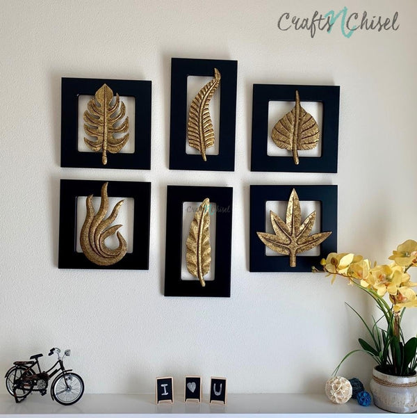 Brass Leaf Wall Hanging (Set of 6)-Crafts N Chisel India - Indian home decor - India