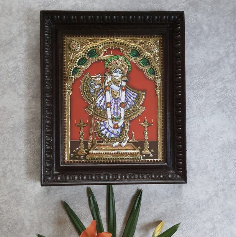 Krishna 3D Tanjore Painting - Traditional Wall Art-Crafts N Chisel India - Indian home decor - India
